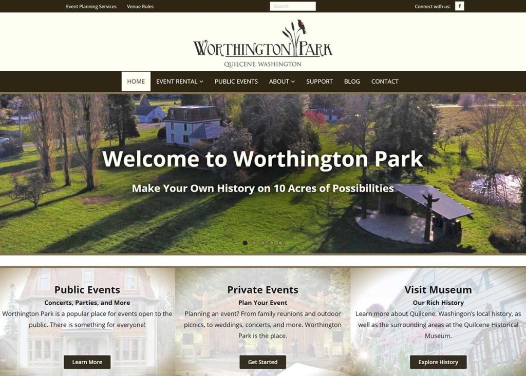 Screenshot of Worthington Park home page, created by Wild Song Design.. Color scheme is dark brown, light, brown, and gold.